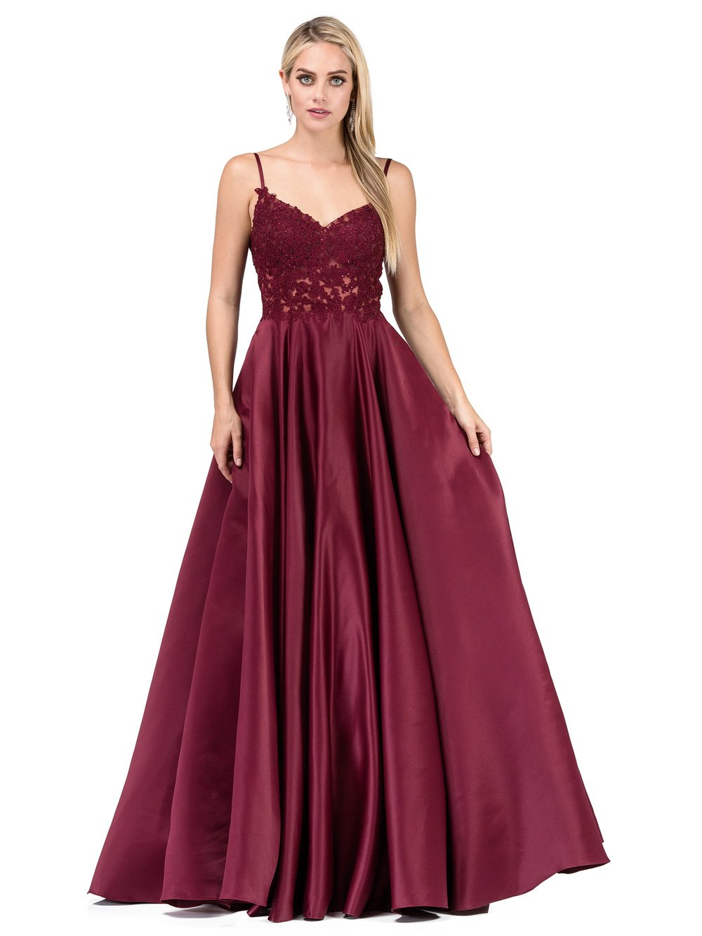 Wine Full Ball Gown with Lace & Jeweled Sweetheart Neck