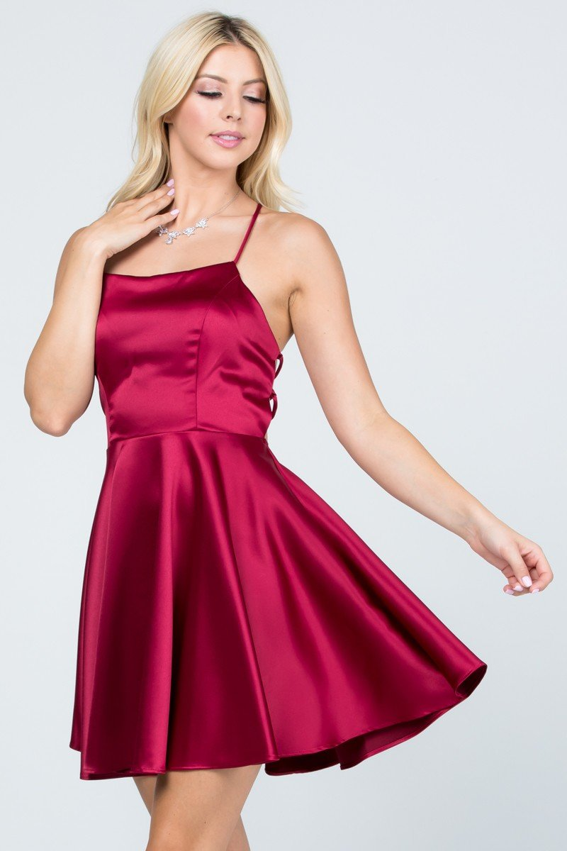 Wine satin like fit and flare dress with crisscross back.