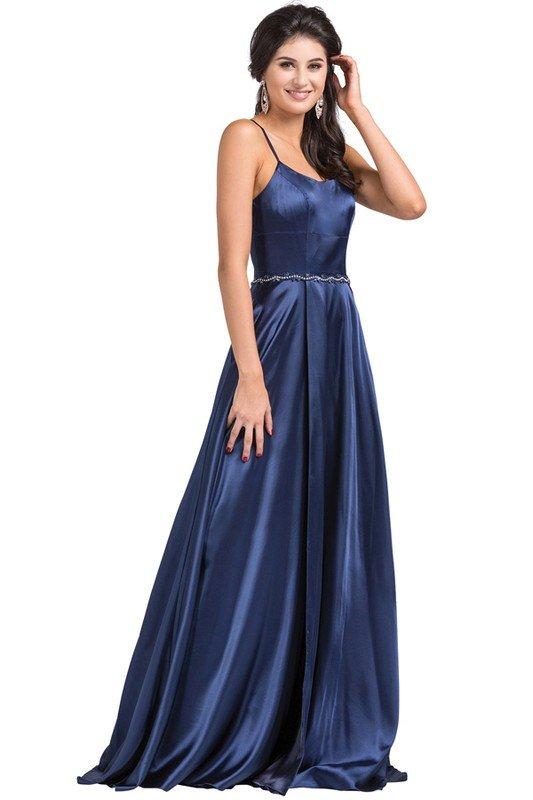 Navy Satin Prom Dress with Slit