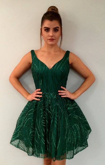 Emerald Green Homecoming Dress With Sequins & Lace Applique