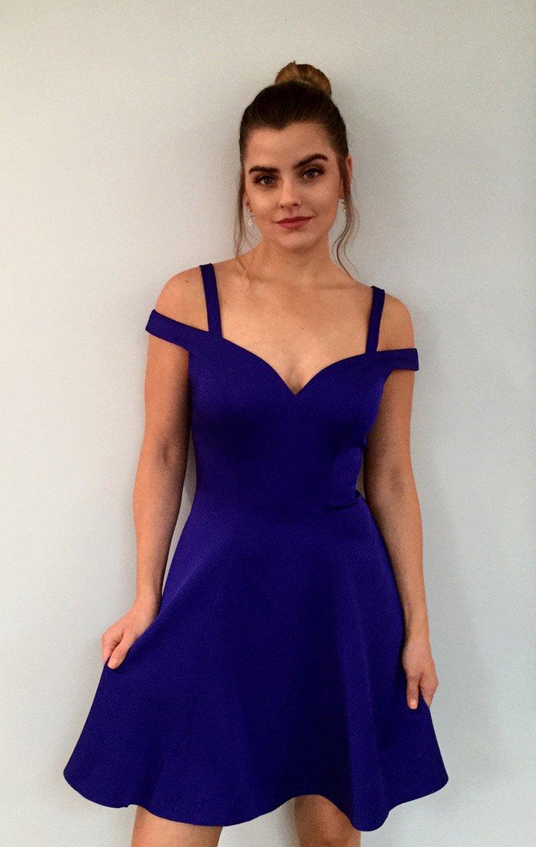 Royal blue cold shoulder HOCO Dress