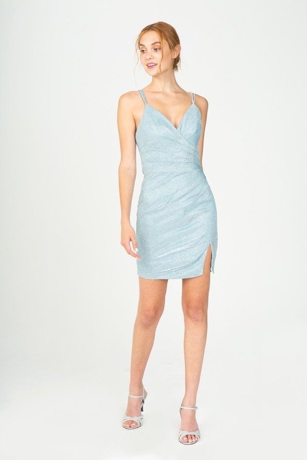 Ice Blue Fitted Metallic Short Dress