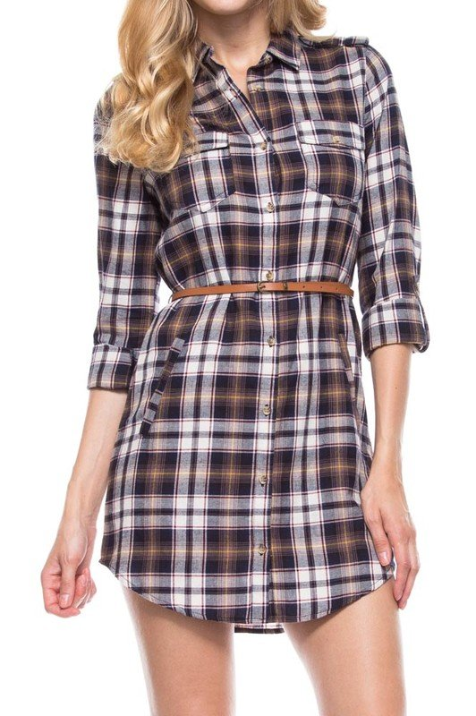 Navy/Black Long Sleeve Plaid Shirt Dress
