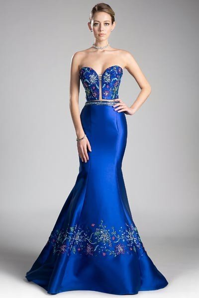 Royal Beaded Satin Mermaid Gown