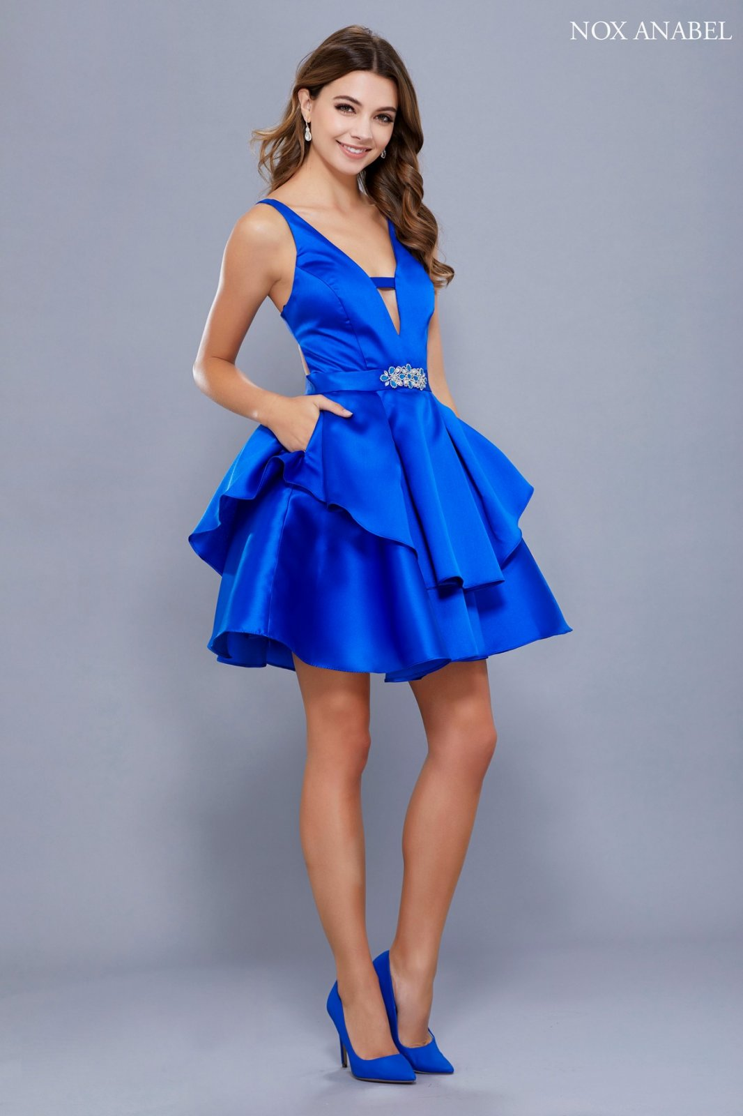 Short Sassy Homecoming Dress with Deep V Front