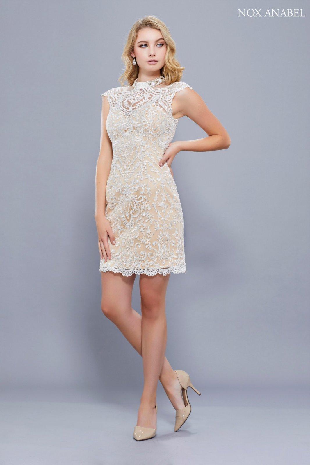 Nude & Lace Shift Homecoming Dress