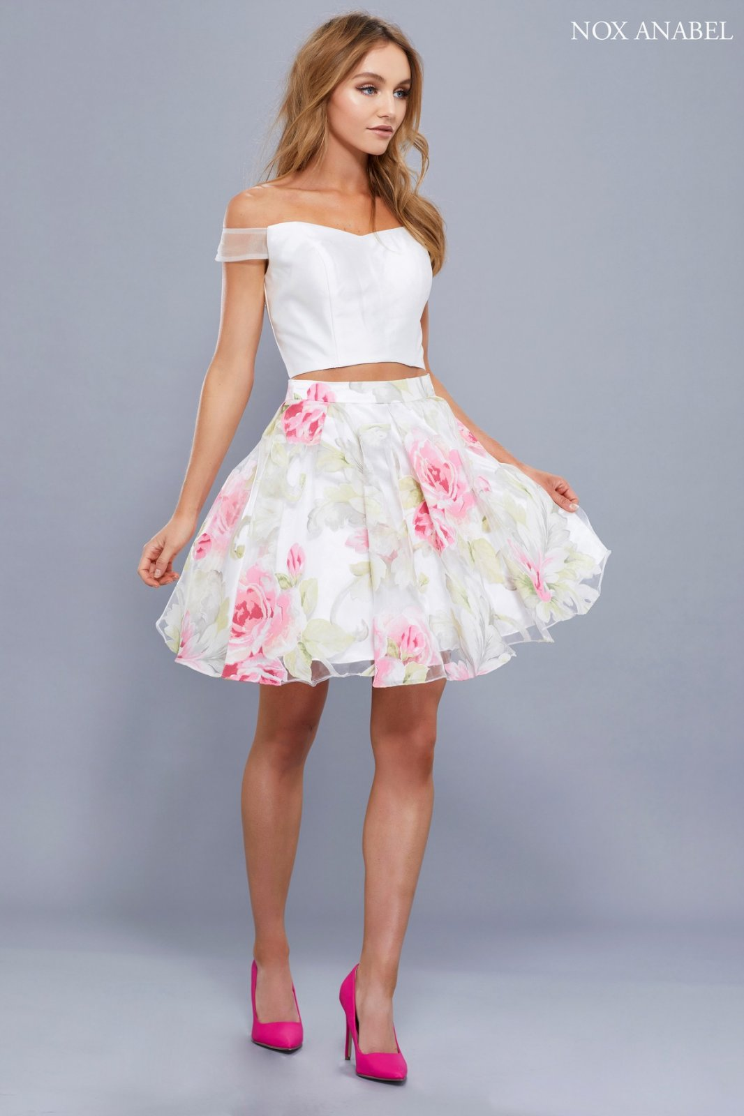 Two Piece White Off The Shoulders Top With Floral Skirt