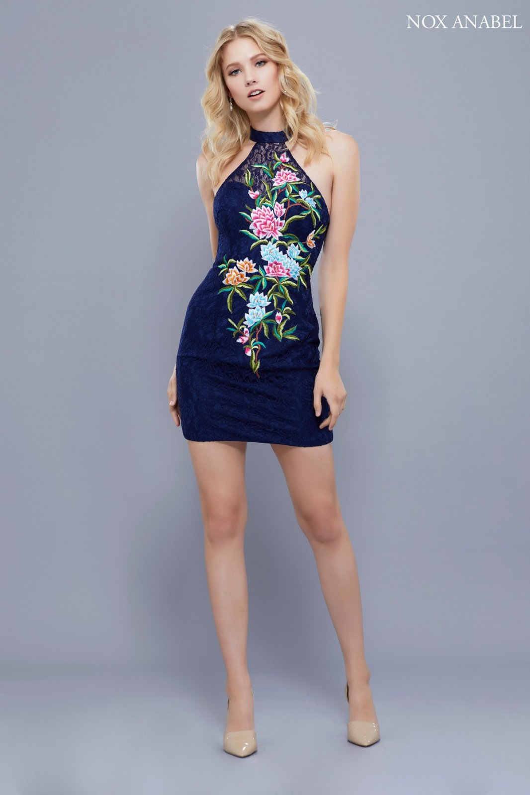 Navy Lace Homecoming Dress with Floral Embroider