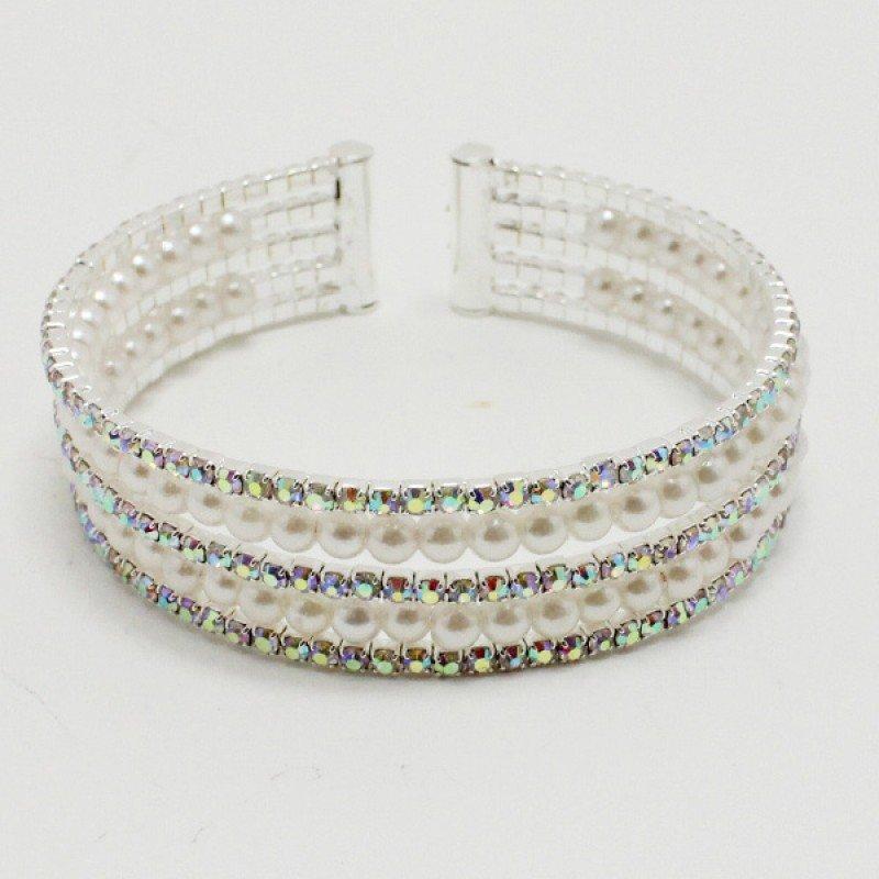 Silver/ Pearl Iridescent Bracelet