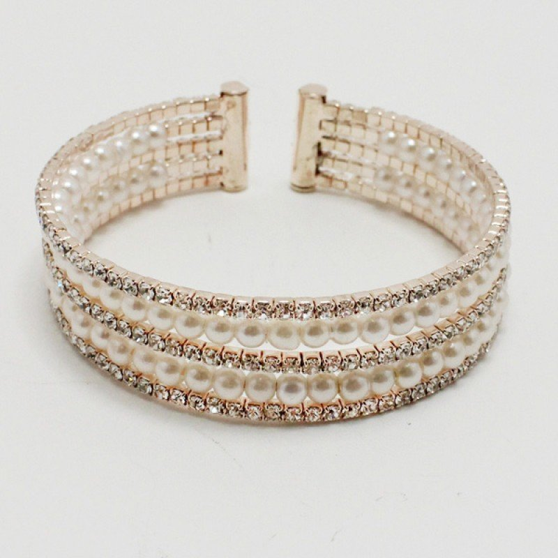 Rose Gold/ Pear Clear Rhinestone Bracelet