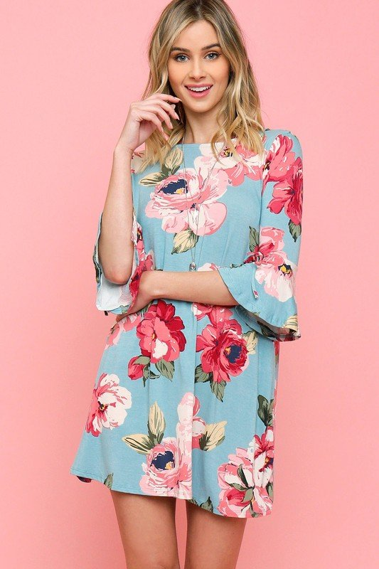 Bell Sleeve Floral Pint Knit Dress