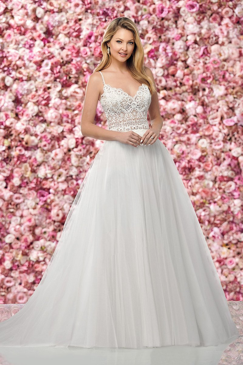 Boho Lace and Tulle A-Line Gown with Illusion Bodice