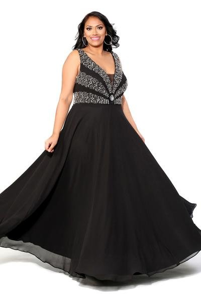 Beaded Bodice Black Dress