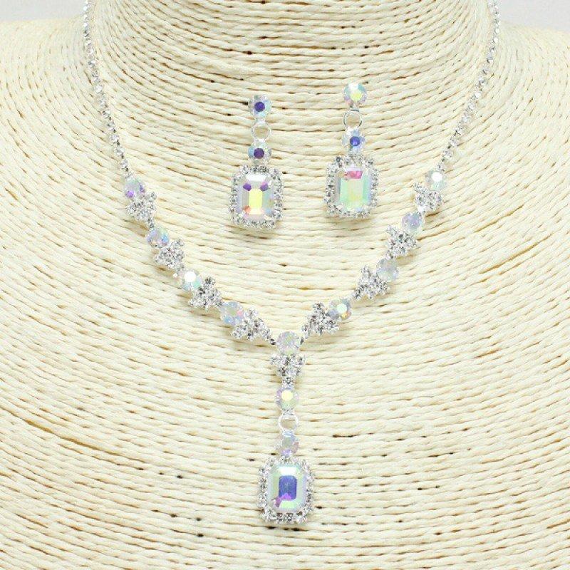 Silver Iridescent Rhinestone Necklace Set
