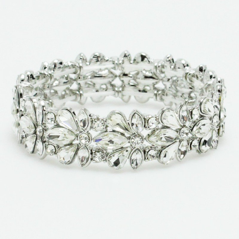 Silver Clear Rhinestone Stretch Bracelet