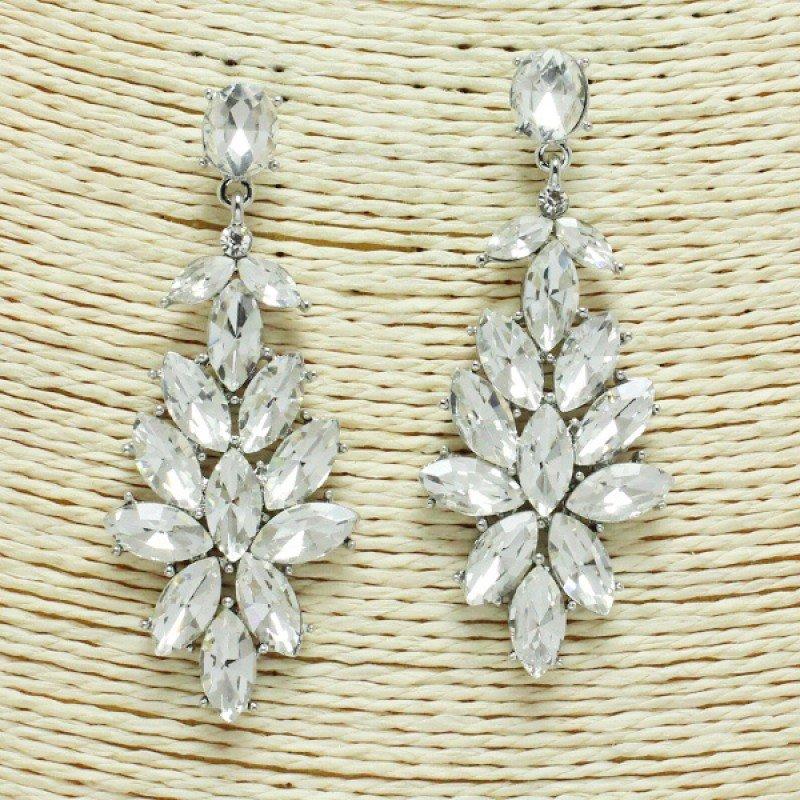Rhinestone Earring Silver/Clear