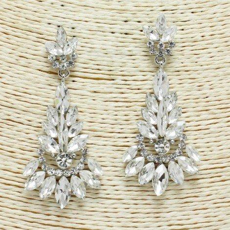 Rhinestone Earring Silver Clear