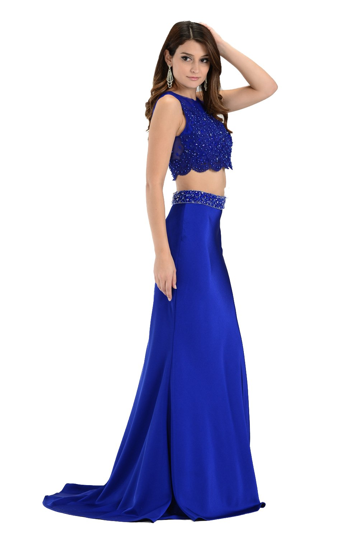 Two-Piece satin royal blue long prom dress