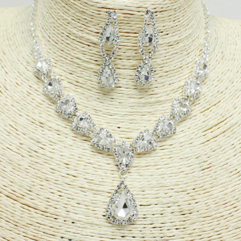 Silver Clear Rhinestone Necklace Set