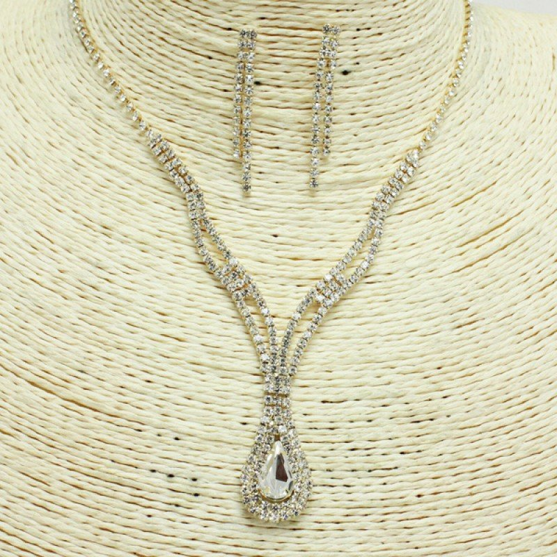 Gold Clear Rhinestone Necklace Set
