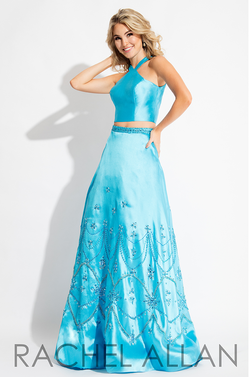 High Neckline Two-Piece Prom Dresses In Ocean Color
