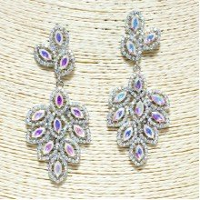 Silver Iridescent Rhinestone Earrings