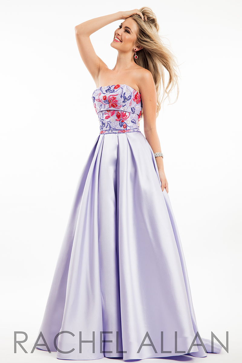 Strapless Ball Gowns Prom Dresses In Purple Color