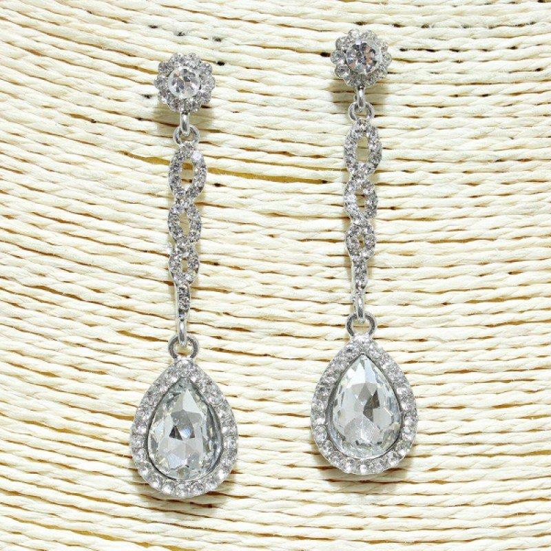 Silver Clear Rhinestone Earring