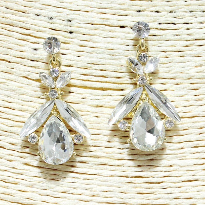 Gold Clear Rhinestone Earring