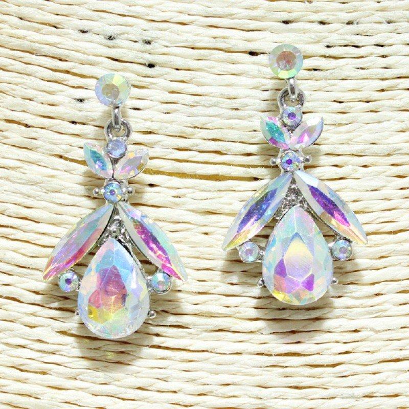 Silver Iridescent Rhinestone Earring