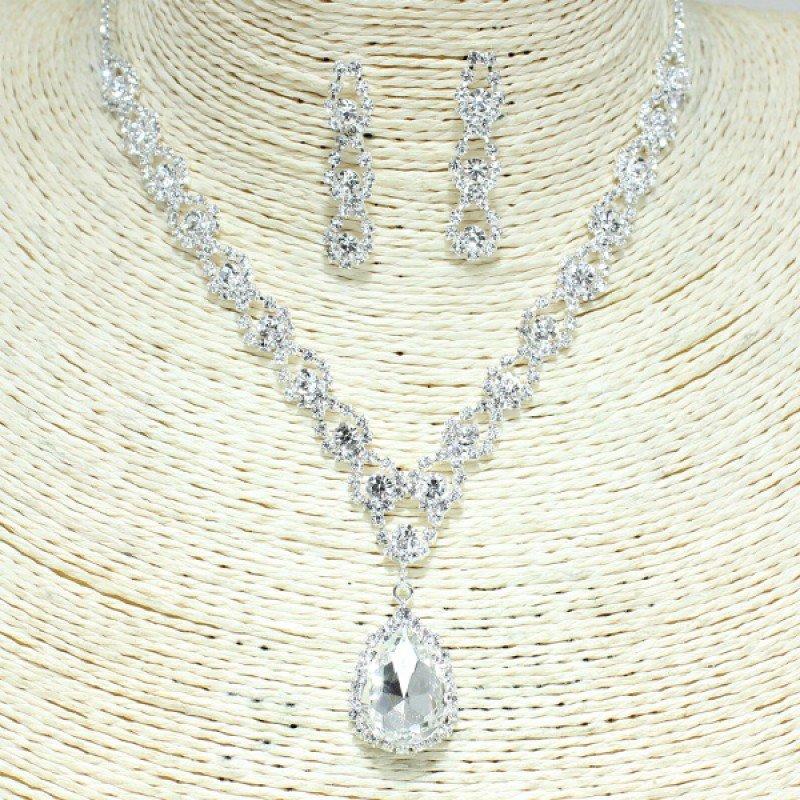 Silver Clear Rhinestone Necklace Set