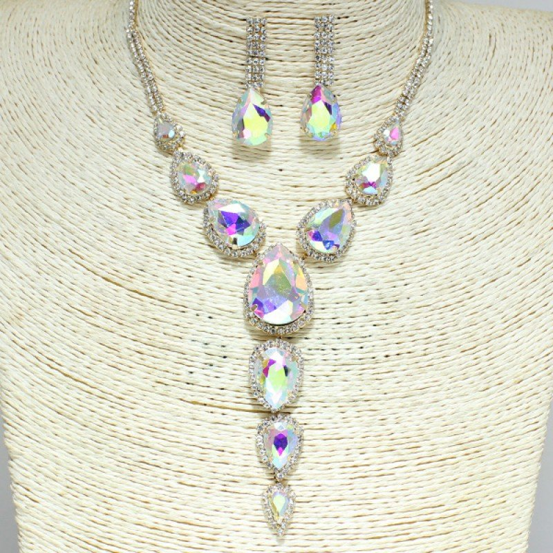 Gold Iridescent Rhinestone Necklace Set