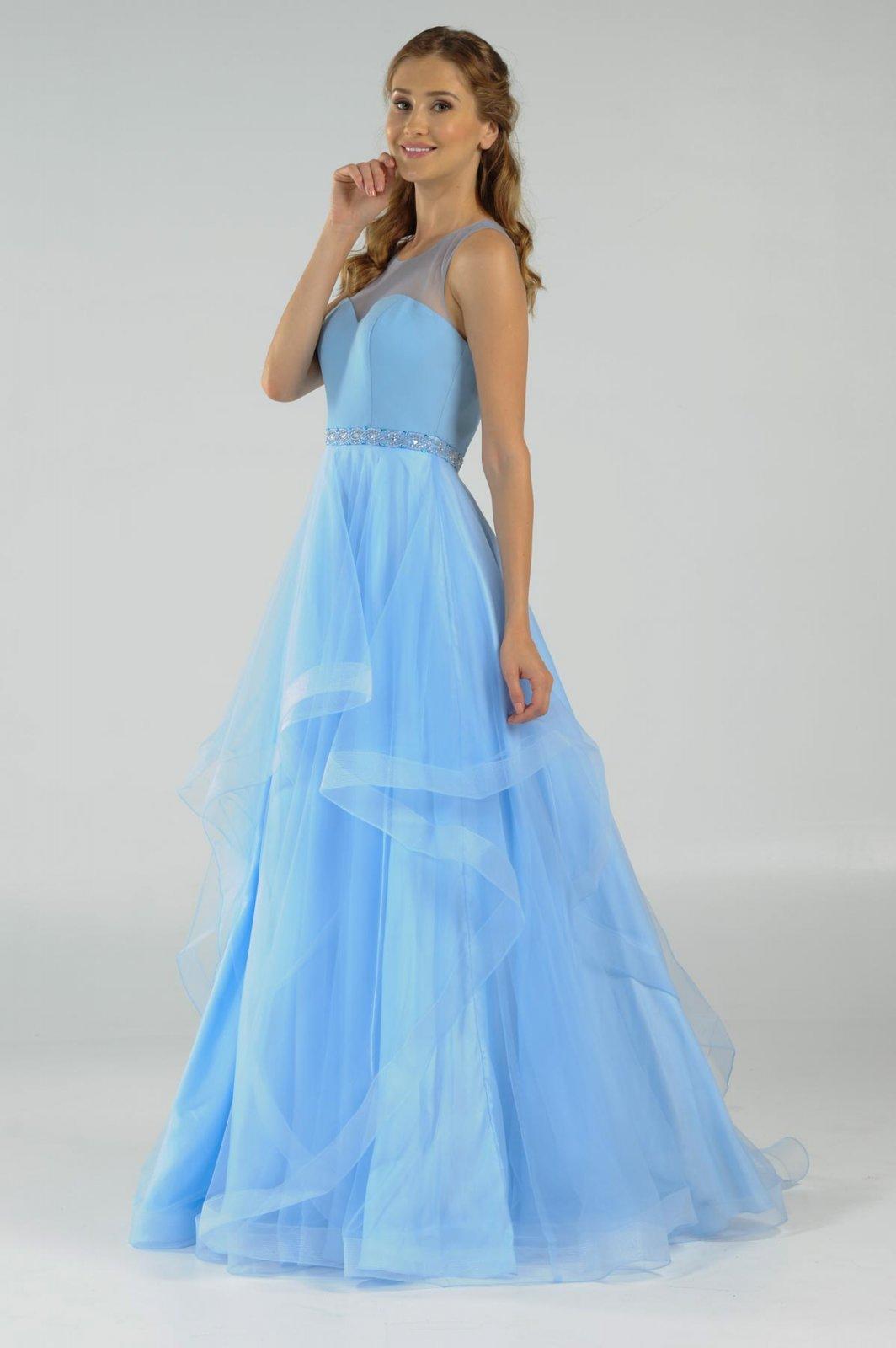 f5f61f27026 Ice Blue Organza Long Prom Dress With Illusion Neckline