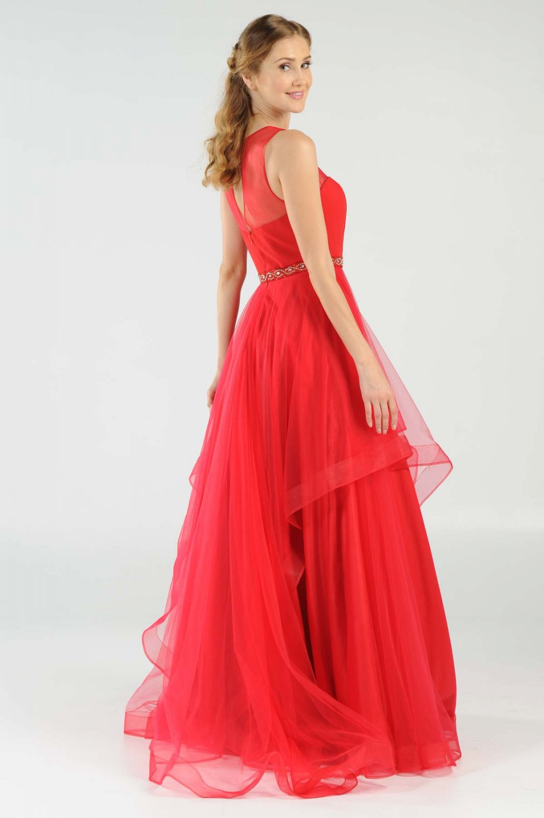 Red Organza Long Prom Dress With Illusion Neckline