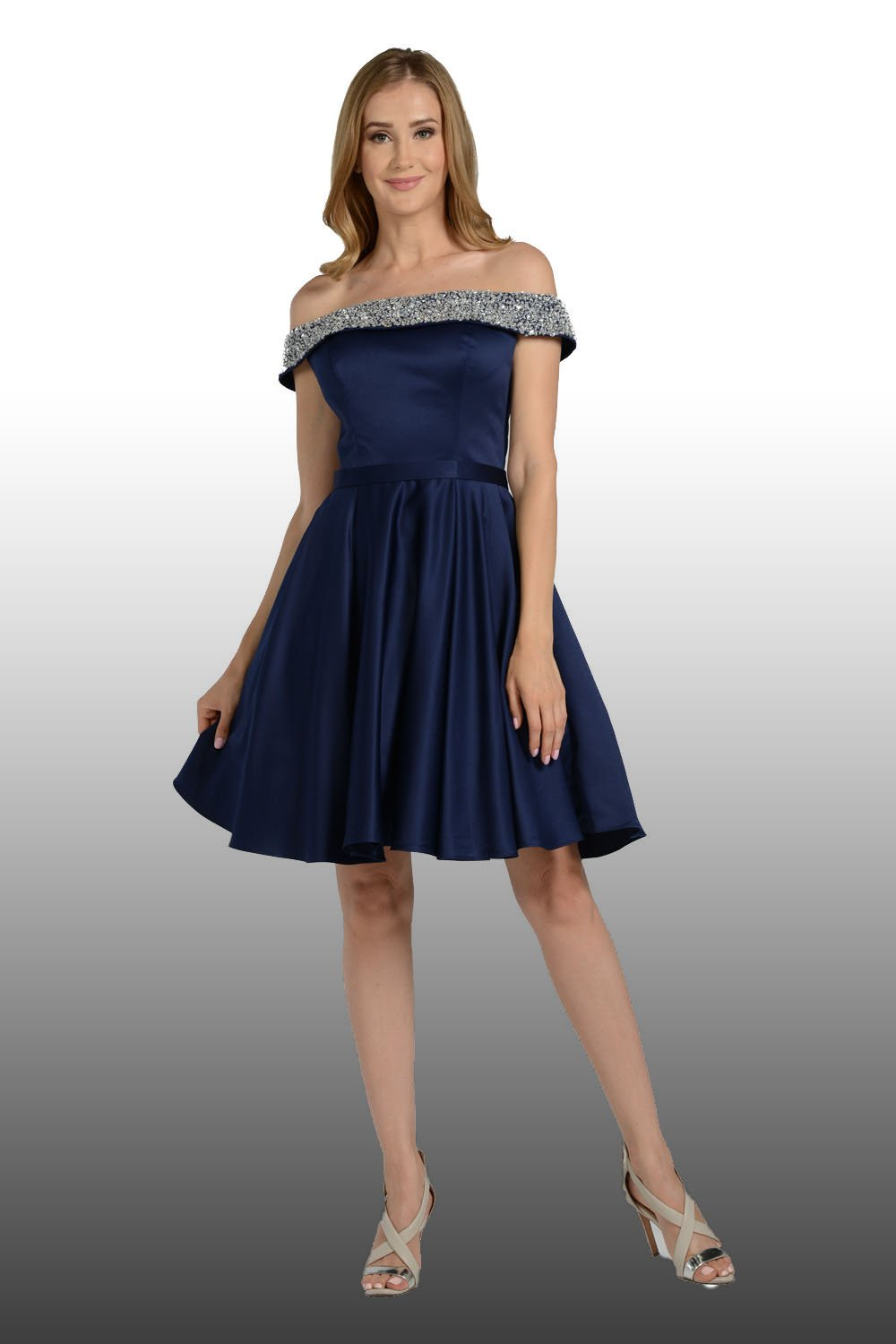 Navy Of The Shoulder Homecoming Dress With Bling Bling Neckline