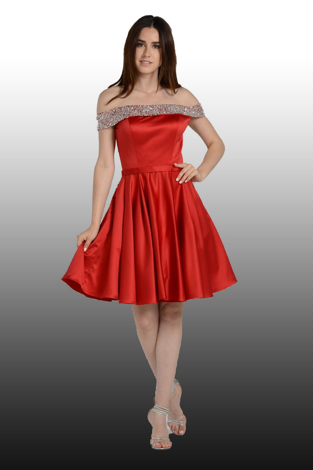 Red Of The Shoulder Homecoming Dress With Bling Bling Neckline
