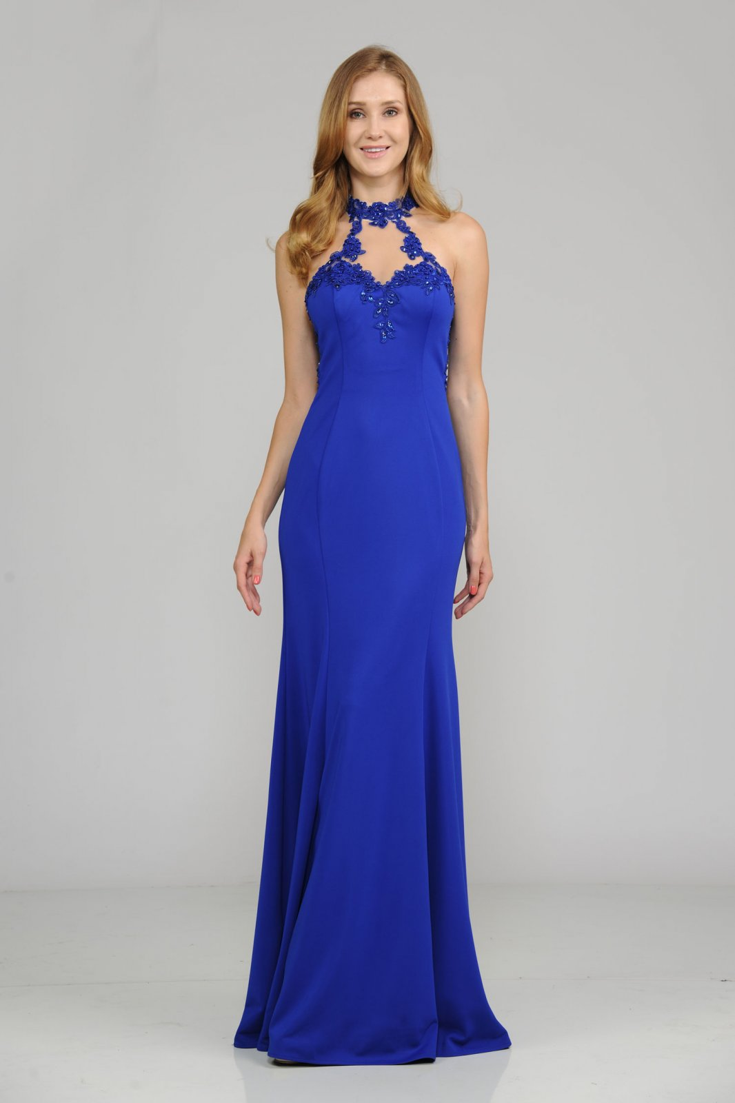 Royal high neck embellished with lace appliques and stones long Prom Dress