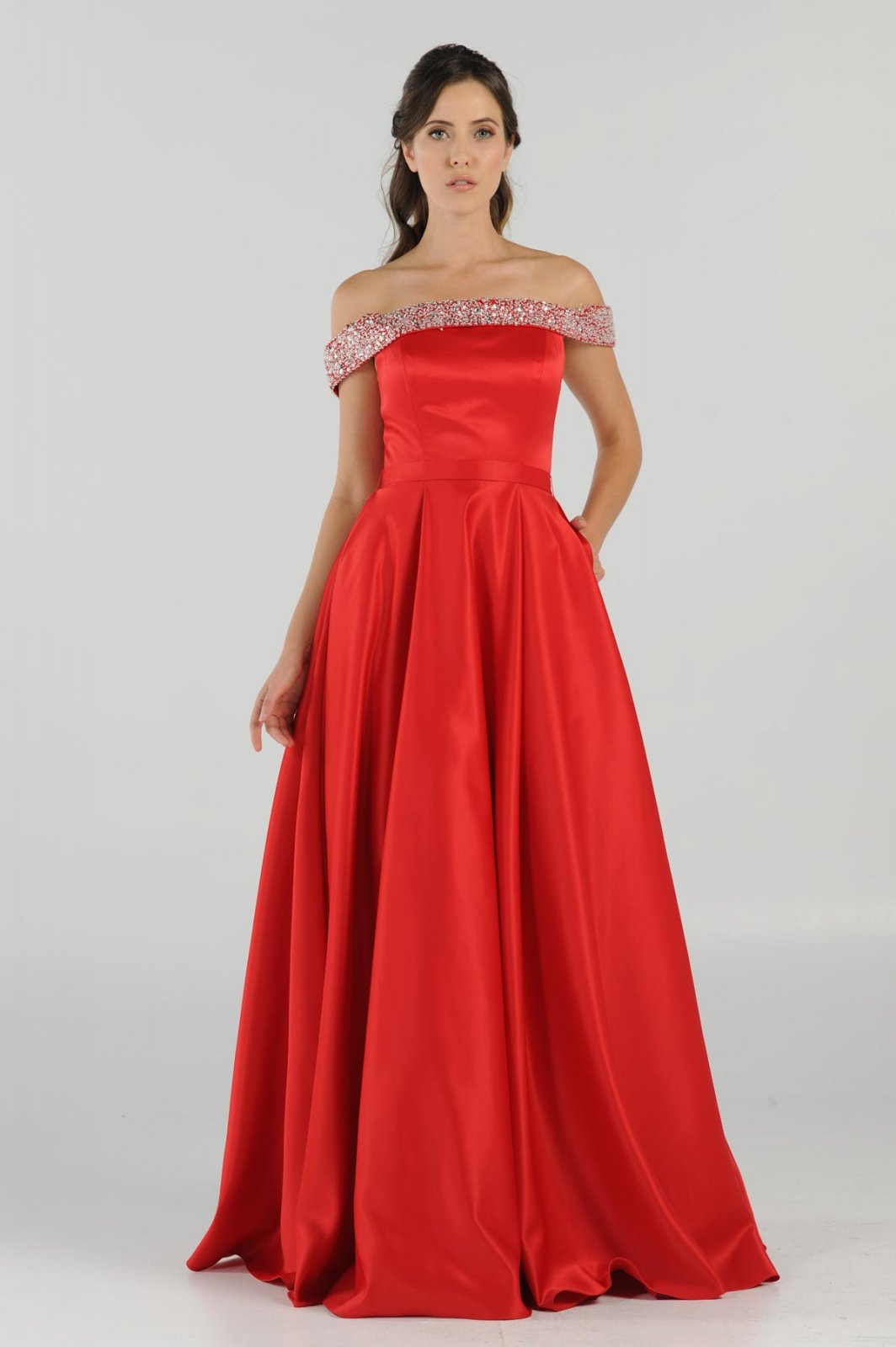 Red Of The Shoulder Prom Dress With Bling Bling Neckline