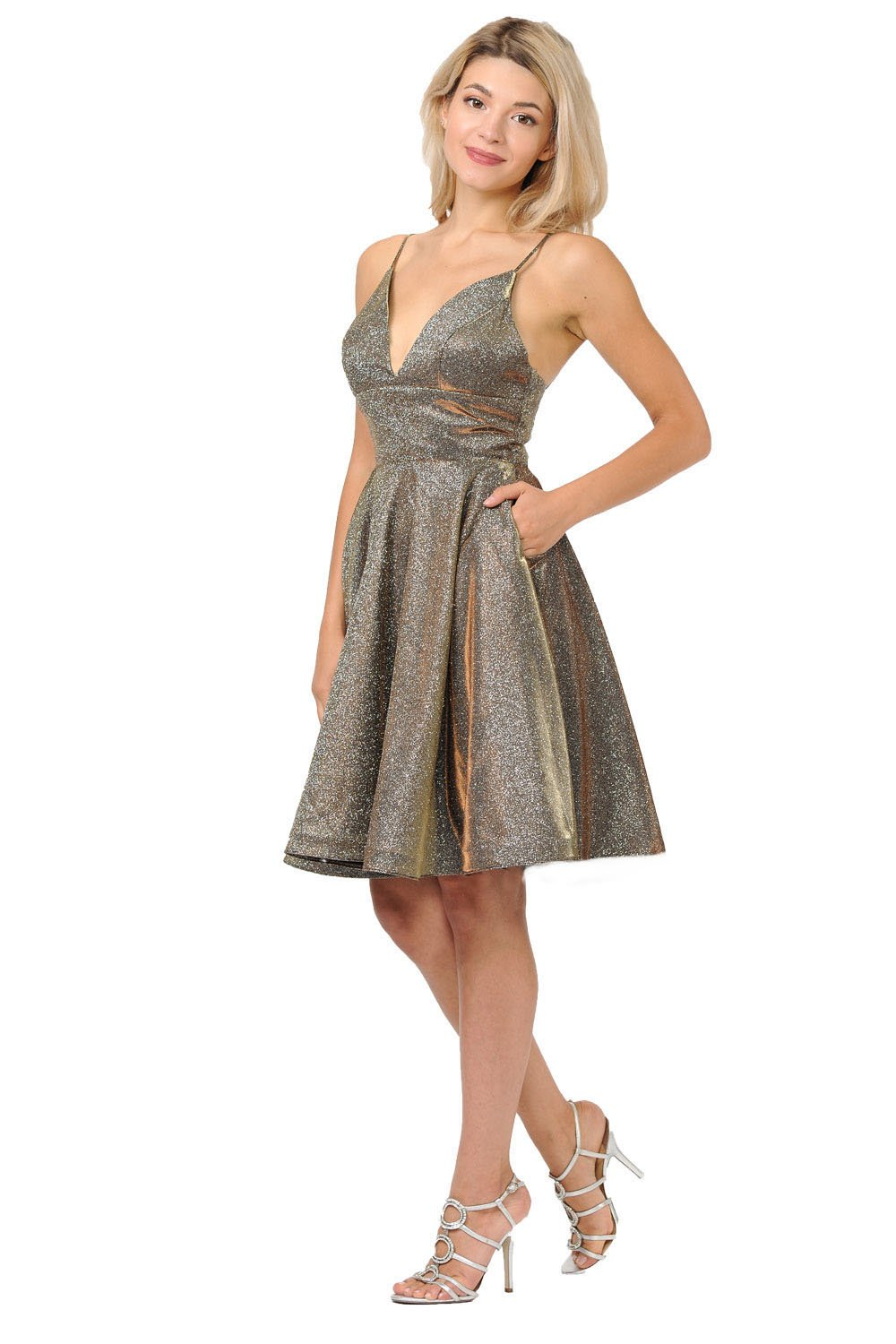 Gold metallic short dress with V-neckline and side pockets homecoming dress.