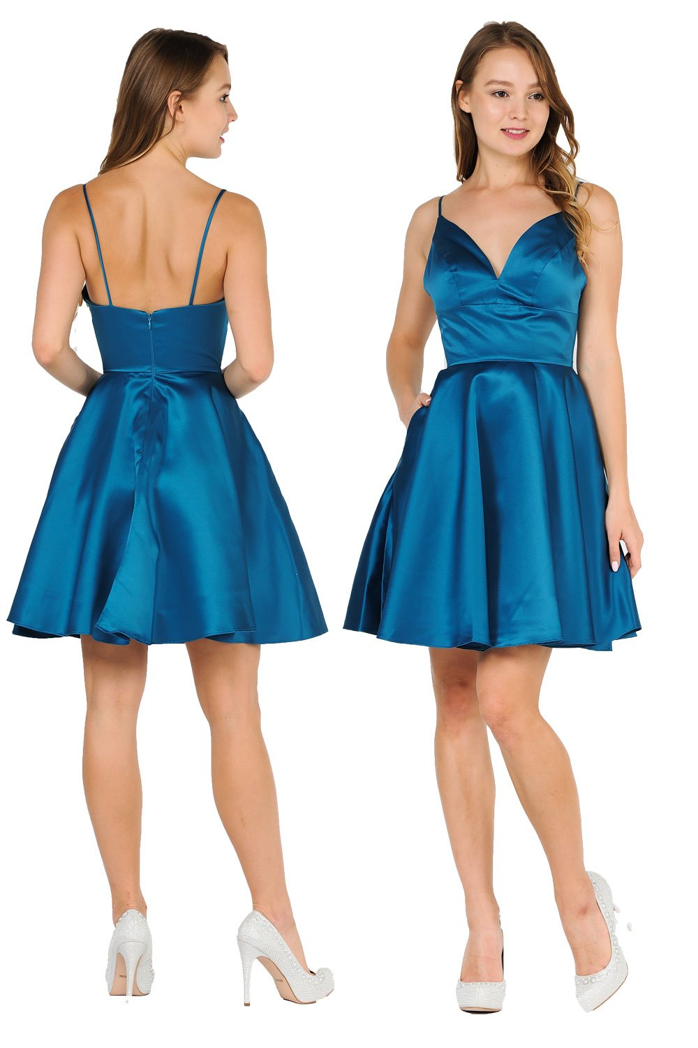 A-line Teal Satin dress with sweetheart neckline homecoming dress.