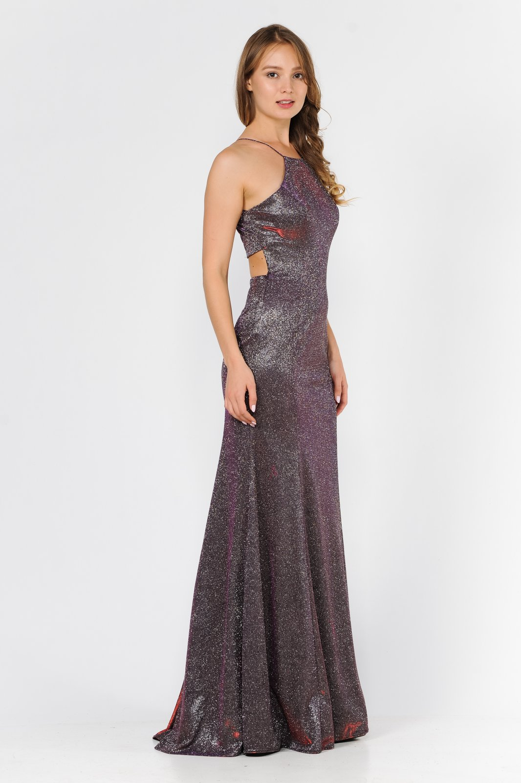 Long Magenta metallic glitter dress with halter neck and sexy back cutout.
