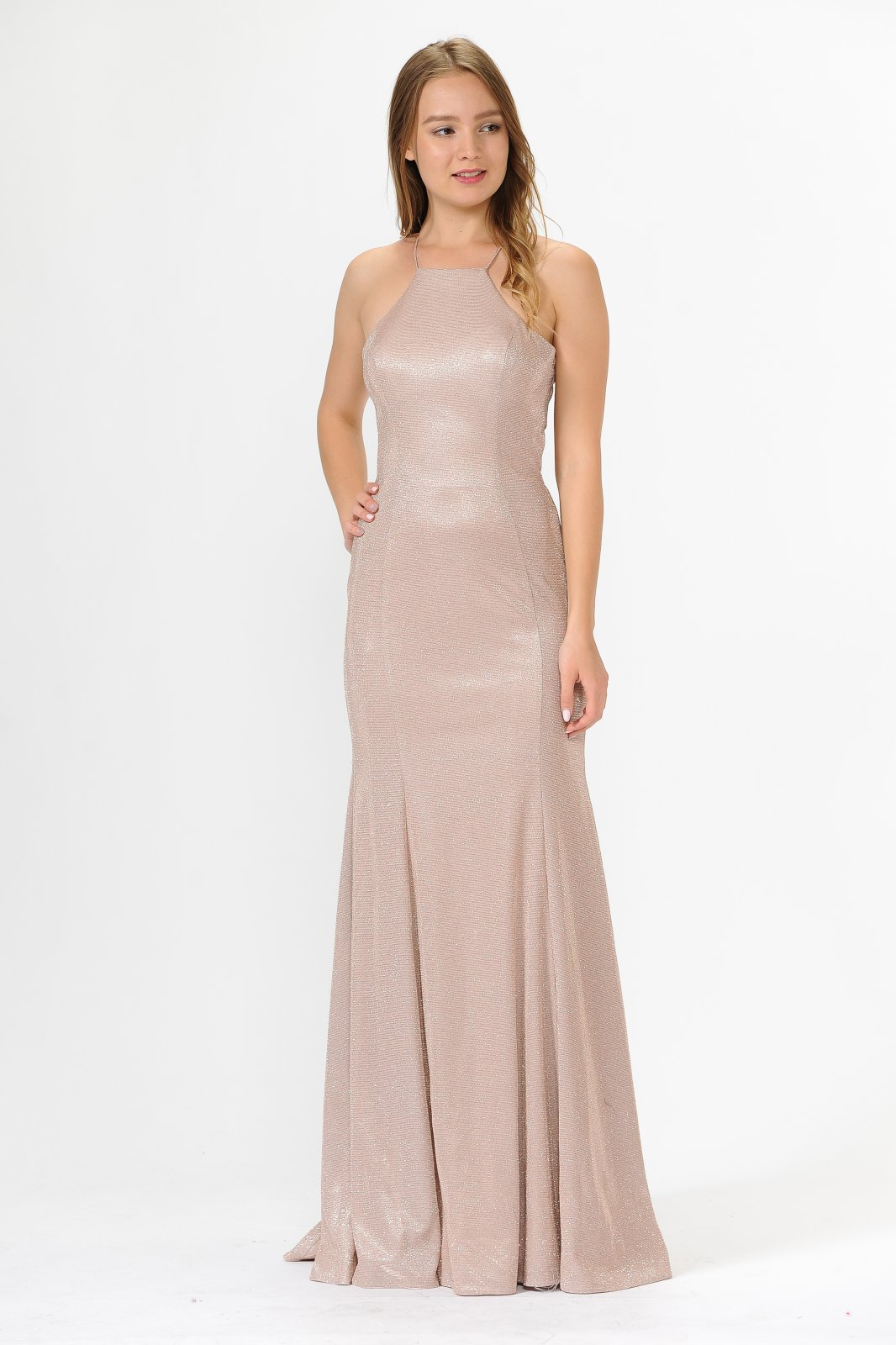 Long Rose metallic glitter dress with halter neck and sexy back cutout.