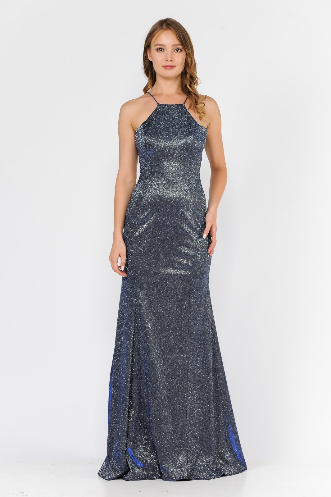 Long Royal metallic glitter dress with halter neck and sexy back cutout.
