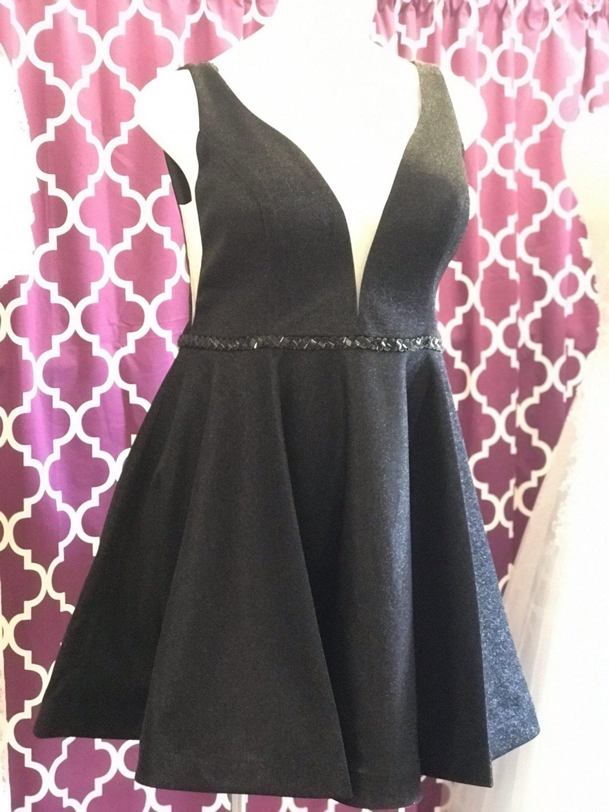 Black Deep V-Neckline Homecoming Dress With Accent Belt