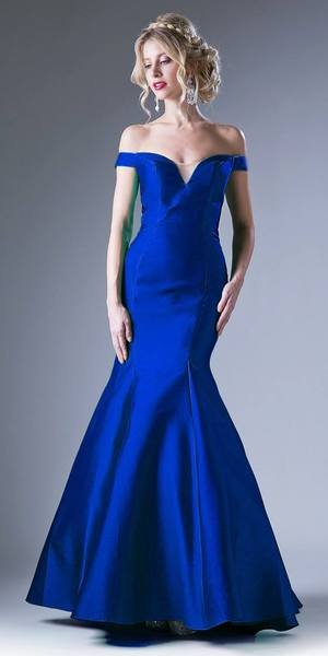 Royal Satin Fit Flare Prom Dress With