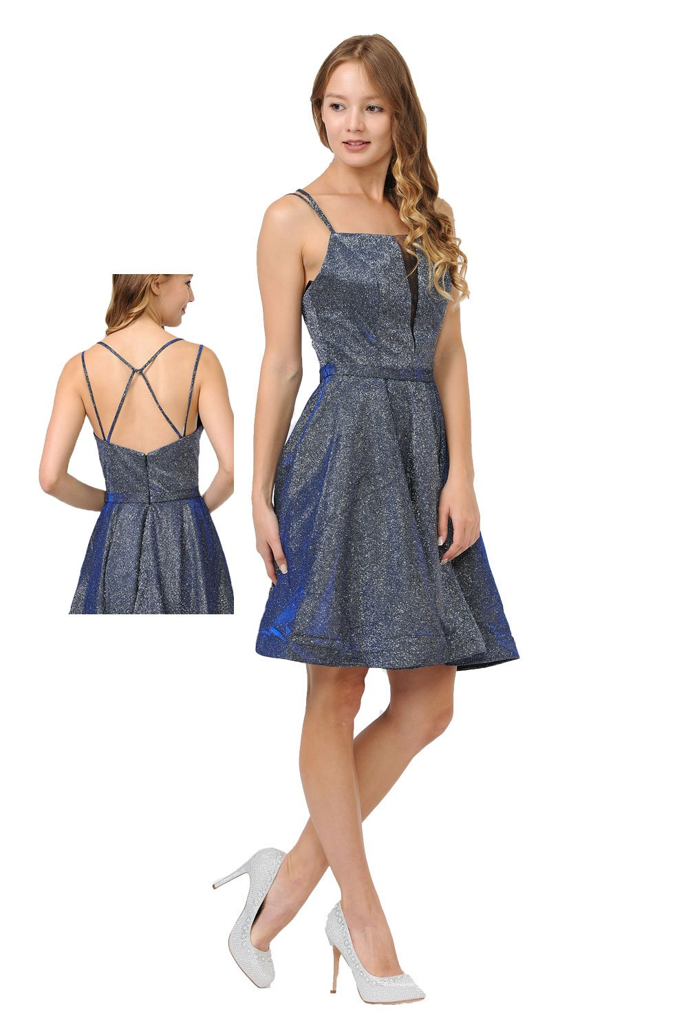 Royal metallic short dress with plunging V-neckline