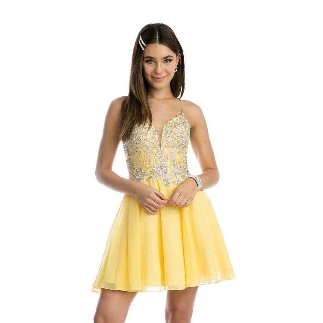 Rhinestone Embellished Chiffon Homecoming Dress
