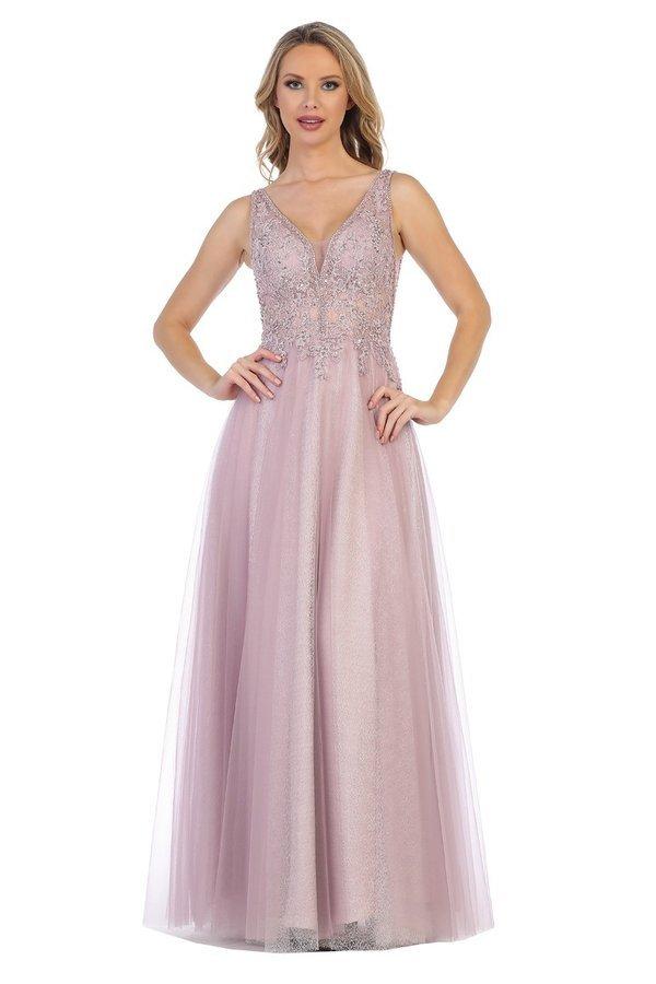 Misty Lilac Prom Dress With Beaded Bodice