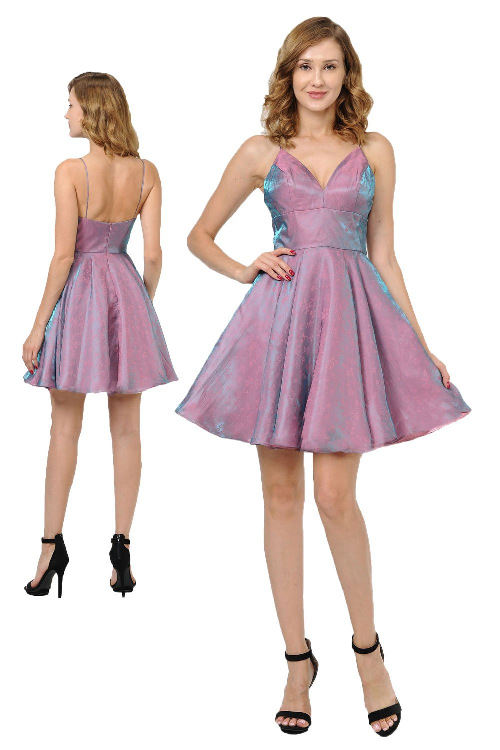A-line Mauve/Teal two-tone short homecoming dress