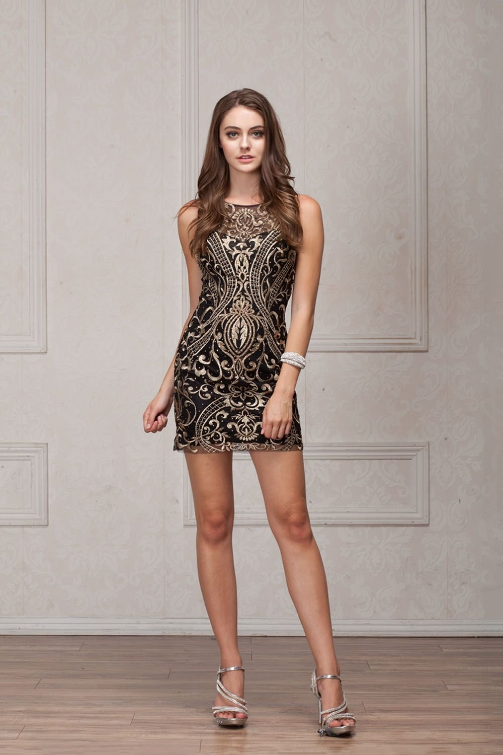 Black & Gold Fitted Homecoming Dress